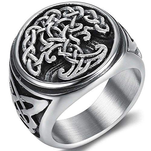 Jude Jewelers Stainless Steel Antique Vintage Celtic Knot Tree of Life Round Signet Biker Cocktail Party Ring (Silver, 7)