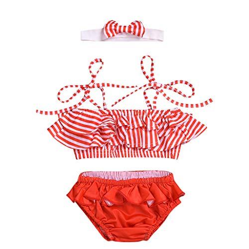 Allecne Badeanzug für Mädchen,Bademode Kinder Baby Mädchen Solid Tassel Bikini Set Swimwear Badeanzug Swimsuit Bathing Clothes+Haarband