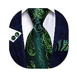 Hi-Tie Men's Wedding Ties Silk Neckties with Pocket Square and Cufflinks Set (T-3206)