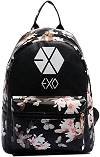 Women Girl's Flower Floral Cute Exo Pu Leather Backpack School Book Bags Shoulder Bag