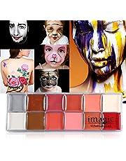 Schmink, 2 soorten IMAGIC 12 kleuren Body Flash Tattoo Olieverf Pigment Makeup Tool Fancy Dress Artist Palette voor Halloween Kerst Make-up Feestjes Cosplay