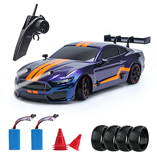BESWIT Remote Control Car GT Drift Car RC Sport Racing Car Hight Speed Drift Vehicle1/14 RC Car for Adults Kids Gifts, 4WD RTR Vehicle with LED Lights, Two Batteries and Drift Tires + Racing Tires