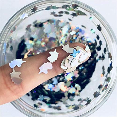 Ultradunne 3D-nagellak 5 * 8mm eenhoorn laser glitter PET-pailletten pailletten milieuvriendelijke losse pailletten voor nail art-decoratie 8g, laser zilver