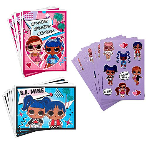Hallmark Kids LOL Surprise! Valentines Day Cards and Stickers Assortment (12 Cards with Envelopes)