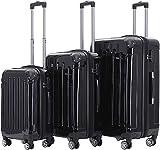 BEIBYE Hartschalen Koffer Trolley Rollkoffer Reisekoffer 4 Zwillingsrollen Polycabonat (Schwarz, Kofferset)