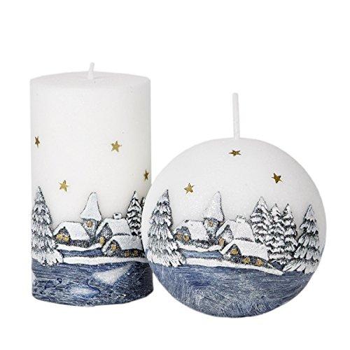Ensemble de 2 bougies Diode Gris Blanc Bougies de Noël Diode Bougie Paysage