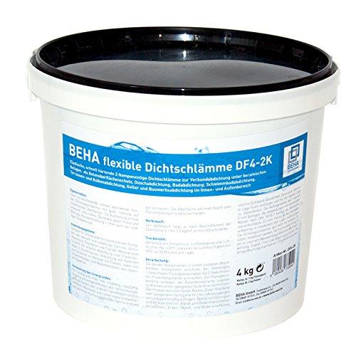 Dichtflex, 2K Dichtschlämme im 4kg Eimer, Abdichtung für Küche, Dusche, Bad, Balkon, Terasse
