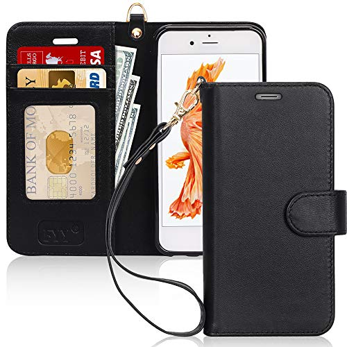 FYY [Luxury Genuine Leather] Wallet Case for iPhone 6S/ iPhone 6, [Kickstand Feature] Flip Folio Case Cover with [Card Slots] and [Note Pockets] for Apple iPhone 6/6S (4.7') Black