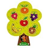 Janod - Puzzle albero goloso 6 pezzi (legno), con pomelli di legno, giocattolo per bambini...