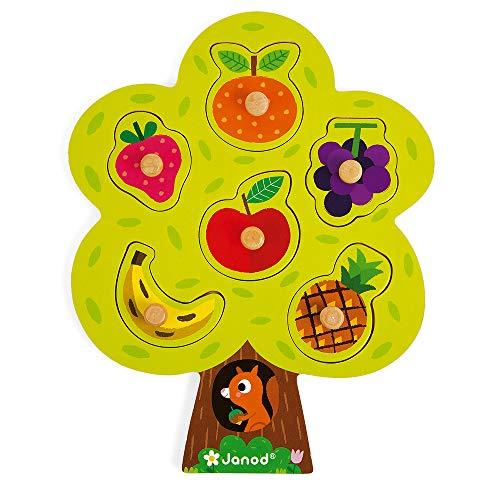 Janod - J07061 - Puzle de madera de 6 piezas encajables con clavija de madera con diseño de árbol frutal para niños pequeños a partir de 18 meses