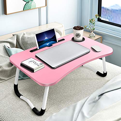 KPX Portable Laptop Bed Table, Fordable Lap Desk with Cup Slot & Notebook Stand Breakfast Bed Trays for Eating and Laptops Book Holder Lap Desk for Floor,Couch, Sofa, Bed, Terrace, Balcony (Pink)