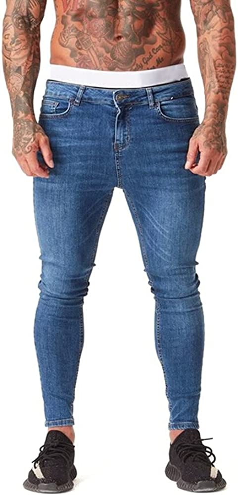 AmourCouture Ripped Tulsa Mall Skinny Jeans for Men Great interest Super Stretchy Distress