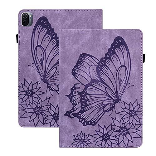 Rosbtib Funda para Xiaomi Pad 5/ 5 Pro 5G 11 Pulgada 2021, Flip Cover con Banda Elástica Función de Soporte PU + TPU Cuero Case Cover Estampado de Mariposas Vintage - Púrpura