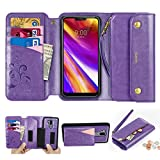 CORNMI LG G7 Wallet Case, Zipper Pocket 8 Card Holders Wrist...