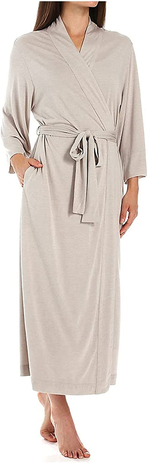 Natori Shangri La Long Robe with Kimono Sleeves, Bathrobe for Women