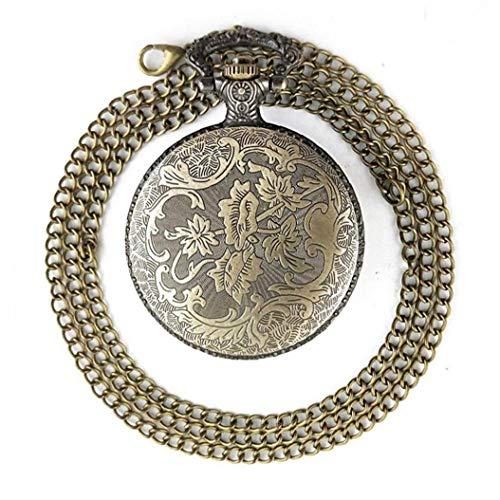 YZLSM Taschen-Uhr-Quarz-Taschen-Uhr mit rundem Ziffernblatt Jahrgang Alter von Nocturnal Schnitzen Schädel-Kopf-Kette Taschenuhr für Halloween-Party