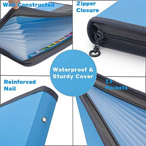 Sooez Expanding File Folder with Sticky Labels, 13 Pocket Accordion File Folder Document Organizer Expanding Zip File Folder with Zipper Closure, Letter A4 Paper Document Accordion Folder, Blue Photo #4