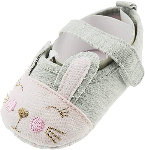 Glamour Girlz Chaussures d'été en coton pour bébé fille avec bride en forme d'animal (gris, rose, 3-6 mois)