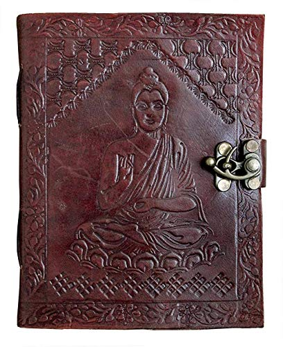 OVERDOSE Handmade Leather Buddha Journal Compact Travel Diary Writing Journal Organizer Daily Planner Office Handbook College Diary Sketchbook Size 5 x7 inches