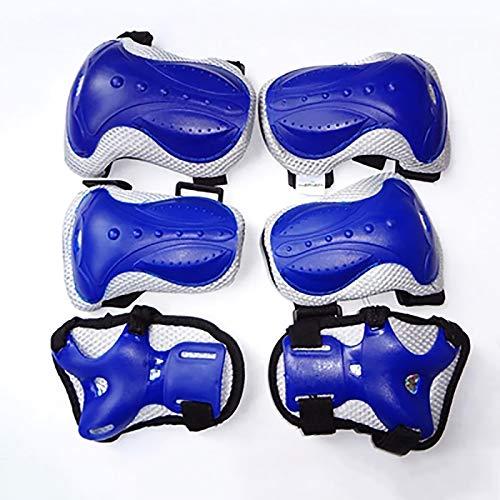 XIAOQIAO Niños y Adultos Rodilleras Coderas muñequeras 3 en 1 con muñequeras de protección Gear Set for el Ciclismo, equitación, Ciclismo (Color : Blue)