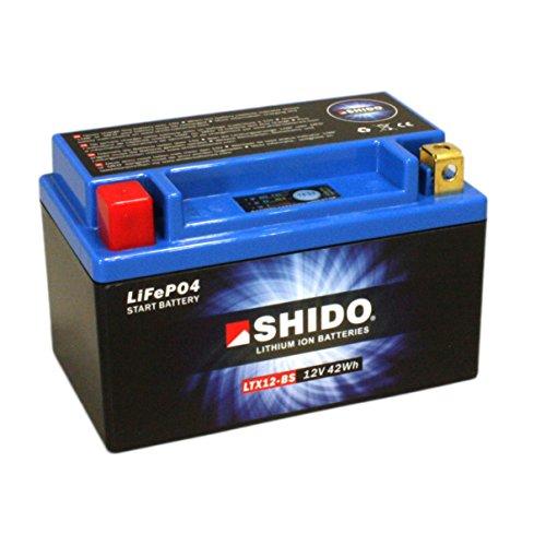 Motorrad Batterie Shido Lithium LTX12-BS / YTX12-BS, 12V/10AH (Maße: 150x87x130)