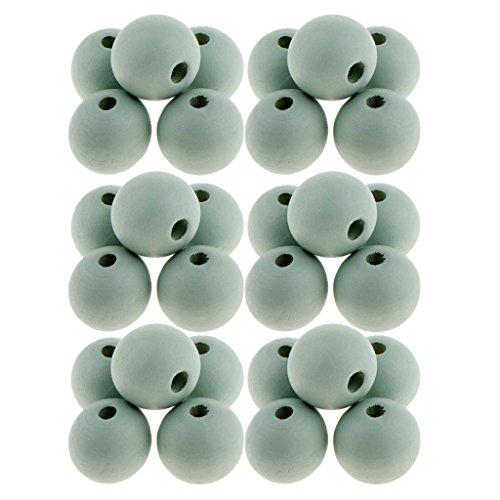 Bonarty 30 Piezas de Cuentas Espaciadoras de Madera Redondas Perlas Sueltas Naturales Bola de Madera 14 Mm Artesanías - # 6, Individual