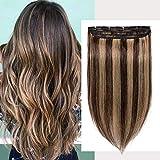 Extensiones de cabello humano de una pieza de pelo real Remy 16 pulgadas 45g 4/27 marrón medio con rubio oscuro natural recto invisible balayage set