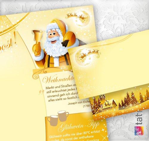 PREMIUM Top-Qualität Briefpapier Set Weihnachtspost (250 Sets ohne Fenster) Weihnachtsbriefpapier mit Umschlägen - Rückseite mit Weihnachtslieder