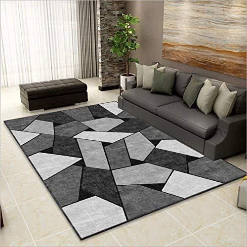 GH-YS Alfombra de diseño Alfombra Moderna Alfombra de Sala de Estar Costuras geométricas en Forma de Diamante de Color Blanco Roto 80x120CM