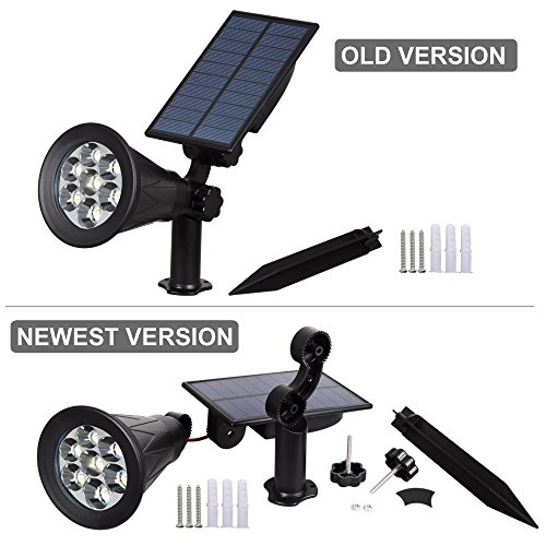 T-SUN Solar Spotlights, Color Changing 7 LED Waterproof Solar Garden Lights, Auto ON/OFF Adjustable Landscape Spot Lights, 2-IN-1 Solar Wall lights for Patio, Yard, Garden, Driveway, Pool Area(2 Pack)