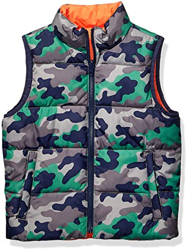 Spotted Zebra Reversible Puffer Vest infant-and-toddler-down-alternative-outerwear-coats, Camo/Orange, Small (6-7)