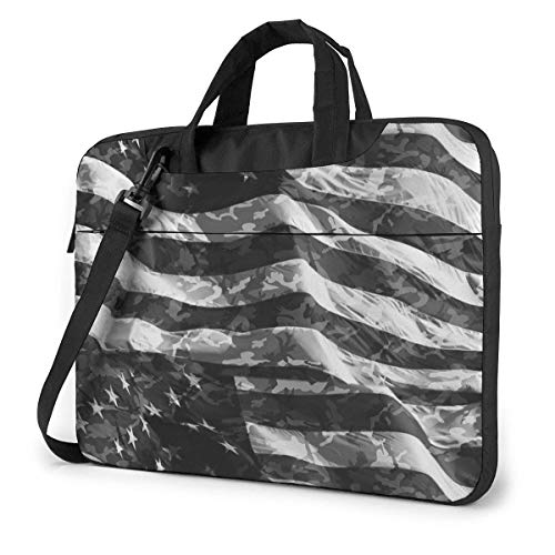 Bolsa para portátil a Prueba de Golpes Camo USA Flag Bandolera Bandolera Unisex Maletín Delgado para Hombres y Mujeres para Oficina de Negocios
