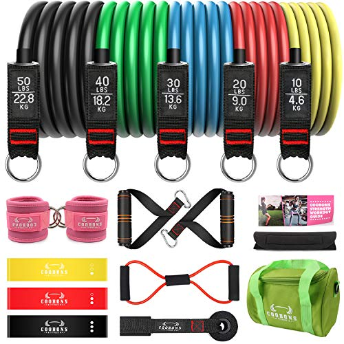 Resistance Bands with Handles - Exercise Bands Set for Working Out, Strength Training Equipment for Exercise Fitness, Theraband, Home Workout (17set)