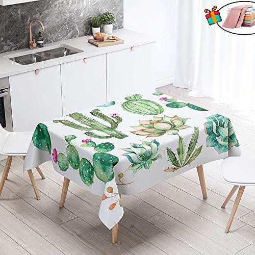 Morbuy Nappe Anti Tache Rectangulaire, Imperméable Étanche à l'Huile 3D Imprimé Carrée Couverture de Table Lavable pour Ménage Cuisine Jardin Picnic Exterieur (140x220cm,Vert Cactus)