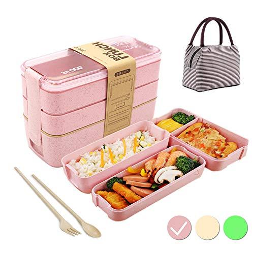 Lunch Box avec Sac Isolant,Bento Box,Anti-Fuite Écologique Boîtes Bento,3 Compartiments Anti-Fuite Écologique Boîte de Conservation avec Fourchette, Cuillère pour Kids Adultes-Rose