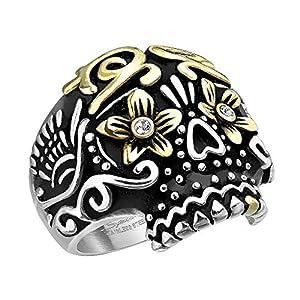 Mianova Herren Ring Edelstahl Massiv Breit Herrenring Männer Biker Rocker Totenkopf Dia De Los Muertos Zuckerschädel vergoldet Größe 67 (21.3)