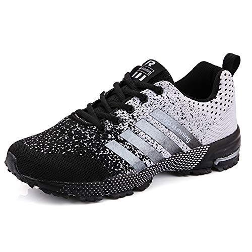 Männer Frauen Laufschuhe Sneaker Paare Air Mesh Sportschuhe Damen Soft No-Slip Laufschuhe für Outdoor, Schnür Anti-Shock Breathable Low-Top