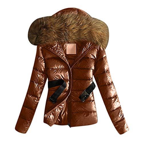 Cordón para Mujer Capa de Invierno Abrigos cálidos Cuello de Piel Chaqueta con Capucha Tops con cinturón Ropa de Abrigo