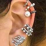 Yiwa - Orecchini finti da donna alla moda, con perle, non richiedono buchi all'orecchio, 9 pezzi