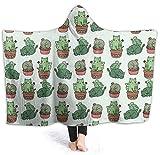 coperta con cappuccio in flanella,Gatto e cactus, leggera, comoda e leggera, ideale per tutte le stagioni, per bambini, donne e uomini 50x40 inch