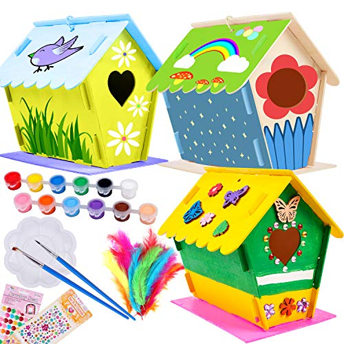 Kids Crafts Art Kit DIY Bird House Build Paint Birdhouse Wooden Arts Crafts for Girls Boys Toddlers Aged 5 6 7 8 Years