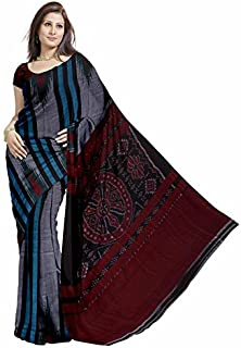 c09fb9cf7e0d4e Glitters Women's Ikat Handloom Cotton Pochampally Without Blouse Piece Saree  (Eglsa90C971_Silver)