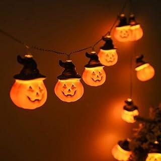 VesipaFly Halloween Pumpkin Lights, 20 LED String Halloween Decoration Jack o Lantern Light Battery Powered Pumpkin with H...