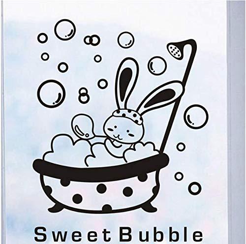 Douche glazen deur sticker Cartoon dier haas lieve blaas muursticker leuke waterdichte baby badkamer decoratie muurkunst sticker 38 * 27 cm