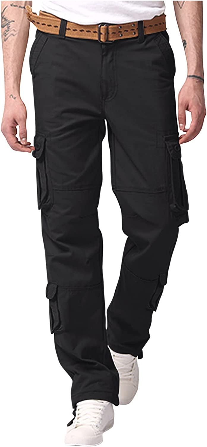Huangse Mens Cargo Pants Relaxed Fit Straight Leg Multi-Pocket Sports Trousers Outdoor Hiking Work Pants