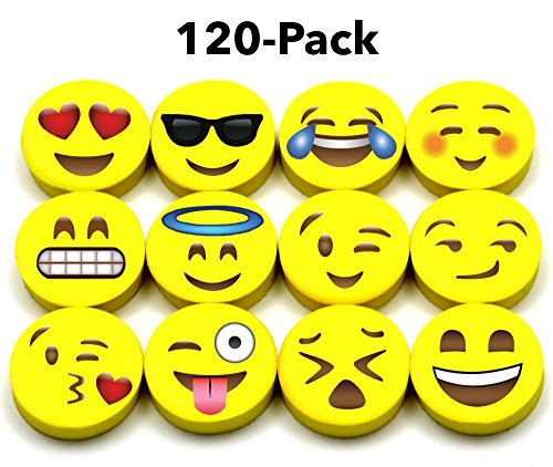 LiveEco Emoji Erasers for Kids, 120 Emoji Pencil Eraser Bulk Pack, Great for Gifts, Small Emoticon Party Favors, Teacher Incentives, Rewards, Classroom School Supplies, Pair with Fun Pencils