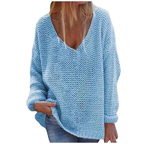 N\P Cuello en V SueltoJersey de color sólido, manga larga, chaqueta de otoño e invierno de color sólido