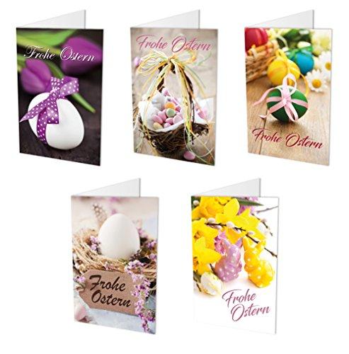 10 hochwertige Osterkarten (Klappkarten) im Set (5 Motive mit jeweils 2 Grusskarten) inklusive 10 haftklebender Umschläge, Ostern, Ostergrüße, Osterkarten