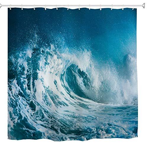 BROSHAN Ocean Wave Fabric Shower Curtain, Tropical Hawaiian Sea Surfing Waves Scenic Bathroom Curtain Polyester, Blue Ocean Cloth Bathroom Decor Set with Hooks