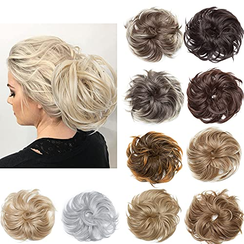 SEGO 8 Inch Large Hair Bun Tousled Updo Ponytails Messy Bun Hair Piece 80g Thick Donut Updo Scrunchies Synthetic Wavy Bun Chignon Hairpiece for Women -613C Bleach Blonde